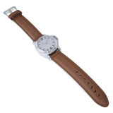 Mechanical wristwatch with a leather strap Stock Photo