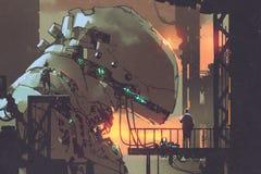 Mechanicals ремонтируя гигантский робот в фабрике иллюстрация вектора