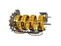 MechanicalYearCounter. 3d image, Conceptual mechanical year counter, new year 2011 Royalty Free Stock Image