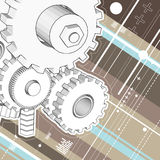 Mechanicl technical drawing. Working mechanical wheels technical drawings vector Royalty Free Stock Image