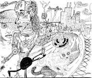 Mechanicle rysuje kreskową sztukę Zdjęcia Royalty Free