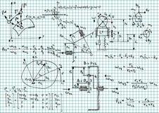 Mechanics. Illustration of mechanical sketches and formulas stock illustration