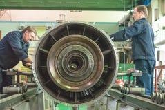 Mechanics assembly aviation engine Royalty Free Stock Photos