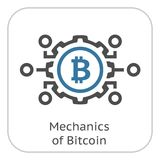 Mechanics of Bitcoin Icon. Modern computer network technology sign. Digital graphic symbol. Bitcoin mining. Concept design elements royalty free illustration