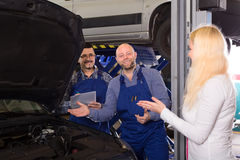 Mechanics calculating repairs cost Royalty Free Stock Photography
