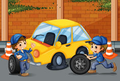 Mechanics changing tyres on the road. Illustration stock illustration