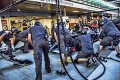 Mechanics Esteban Manuel Gutiérrez Gutiérrez work pit stop Royalty Free Stock Image