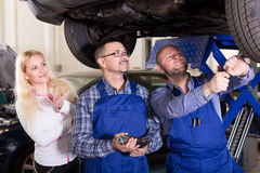 Mechanics examining suspension royalty free stock photo