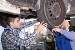 Mechanics fixing car Stock Photo