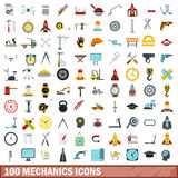 100 mechanics icons set, flat style. 100 mechanics icons set in flat style for any design vector illustration Royalty Free Stock Photo