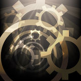 The Mechanics. Illustration with lighted up gears drawn in abstract style stock illustration