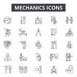 Mechanics line icons, signs, vector set, linear concept, outline illustration. Mechanics line icons, signs, vector set, outline concept linear illustration stock illustration