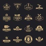 Mechanics logo icons set, simple style. Mechanics logo icons set. Simple illustration of 16 mechanics logo vector icons for web royalty free illustration