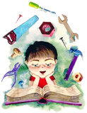 Mechanics in me. Cute boy reading a book about mechanics vector illustration