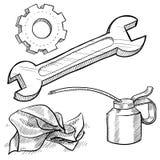 Mechanics object sketch Stock Photos
