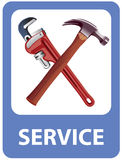 Mechanics tools. Depicted in road sign. Vector illustration Stock Photos