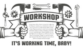 Mechanics Tools. Flyer template for the workshop. Hand holding a hammer. Mechanics Tools stock illustration
