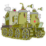 Mechanics. Tracked vehicle with a steam engine Stock Photo
