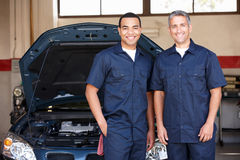 Mechanics at work stock image