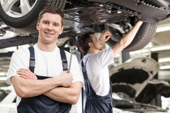 Mechanics at work shop. Royalty Free Stock Photography