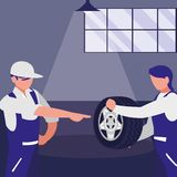 Mechanics workers with tire car characters. Vector illustration design vector illustration