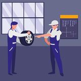 Mechanics workers with tire car characters royalty free illustration