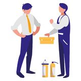 Mechanics workers with toolbox characters royalty free illustration