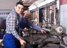 Mechanics working with tools Stock Photo