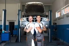 Mechanics at workstation Stock Photography
