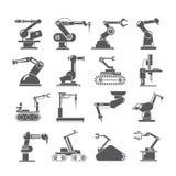 Mechaniczne ręk ikony, przemysłu zgromadzenie roboty ilustracji