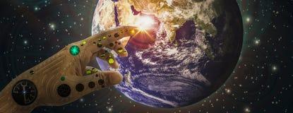 Mechaniczne ręki i palca dotyka ziemi tło głębokiej przestrzeni i technologii ikony Z duchem świat, nauka, popieranie i ilustracja wektor