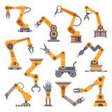 Mechaniczne ręki ustawiać Rękodzielniczej automatyzaci technologia Przemysłowego robota ręki maszyna Fabryczny zgromadzenie robot ilustracja wektor