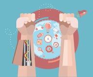 Mechaniczne ręki z biznesowymi ikonami Zdjęcia Stock