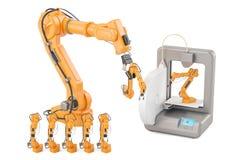 Mechaniczne ręki z 3D drukarką, 3D rendering Zdjęcie Stock