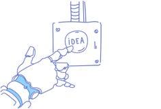 Mechanicznego ręka dotyka pomysłu guzika innowaci sztucznej inteligenci inspiraci kreatywnie progect początkowa pomoc royalty ilustracja