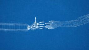 Mechaniczny I Ludzki ręka projekt - architekta projekt Fotografia Royalty Free