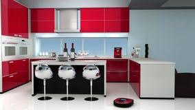 Mechaniczny próżniowy cleaner w nowożytnej kuchni royalty ilustracja