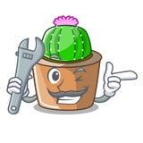 Mechanik maskotki gwiazdy kaktus dekoruje w ogródzie royalty ilustracja