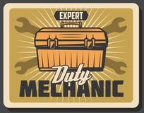 Mechanik usługa dla samochodowego repairment wektoru plakata Fotografia Royalty Free