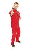 Mechanik w czerwonym kombinezonie zdjęcia stock