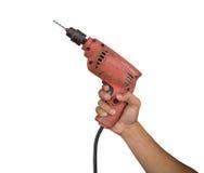 Mechanika świder na ręce na białym tle lub śrubokręt Fotografia Stock