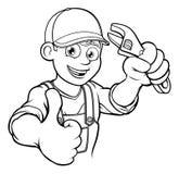 Mechanika lub hydraulika złota rączka Z wyrwanie kreskówką Fotografia Royalty Free