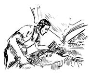 Mechaniker überprüft den Ölstand im Auto vektor abbildung