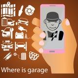 Mechaniker auf Mobile Stock Abbildung
