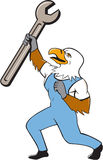 Mechaniker Bald Eagle Spanner Standing Cartoon Lizenzfreie Stockbilder
