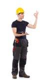Mechaniker, der okayzeichen zeigt Lizenzfreies Stockfoto