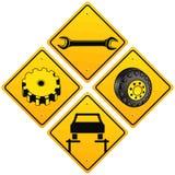 Mechaniker, die Autozeichen reparieren stock abbildung