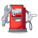 Mechaniker gosoline Pumpenfront das Karikaturhaus vektor abbildung