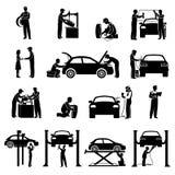 Mechaniker Icons Black lizenzfreie abbildung
