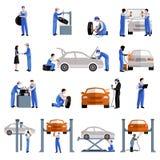 Mechaniker Icons Set Lizenzfreie Stockbilder